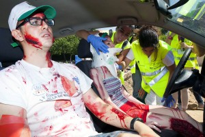 Éxito en el gran simulacro de los enfermeros de emergencias