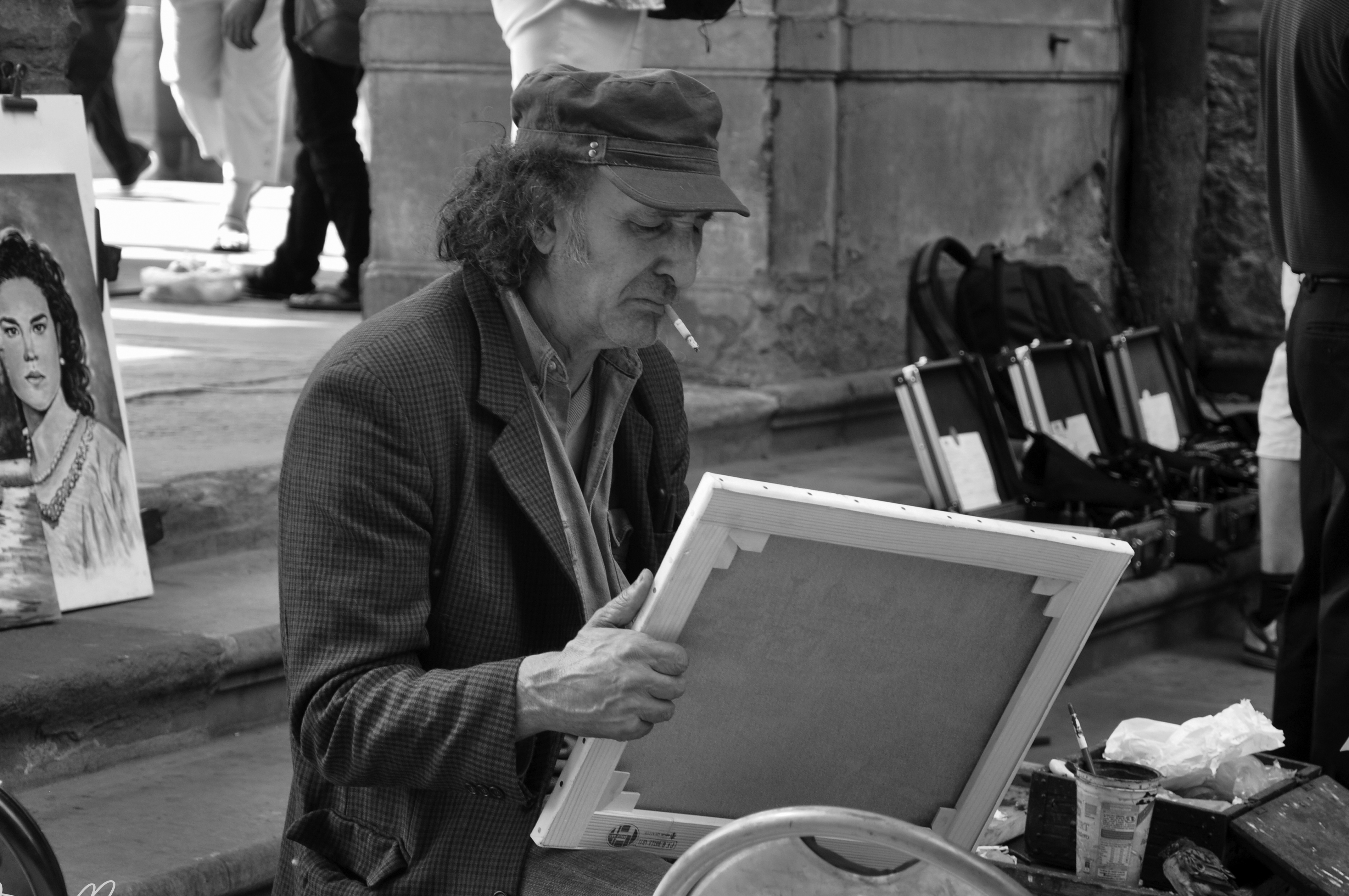 Dibujante callejero en la Plaza de los Uffizi