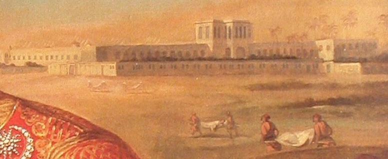Detalle del retrato de Clot Bey, en el que se observa a varios camilleros transportando heridos hacia el hospitald e Abu Zabel