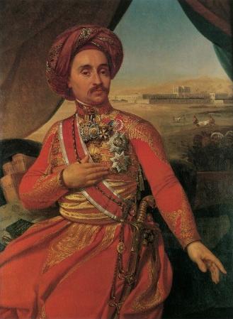 Retrato de Clot Bey (1793-1868), obra de Antoine-Jean Gros. Al fondo se observa a varios camilleros transportando heridos hacia el hospitald e Abu Zabel
