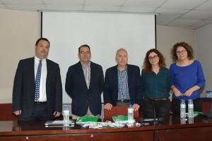 Los miembros del observatorio de bioseguridad durante la presentación