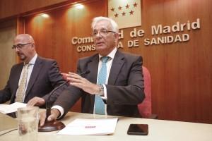 Jesús Sánchez Martos, consejero de sanidad de la Comunidad de Madrid en la rueda de prensa que ha tenido lugar esta mañana. Foto: D.Sinova / Comunidad de Madrid
