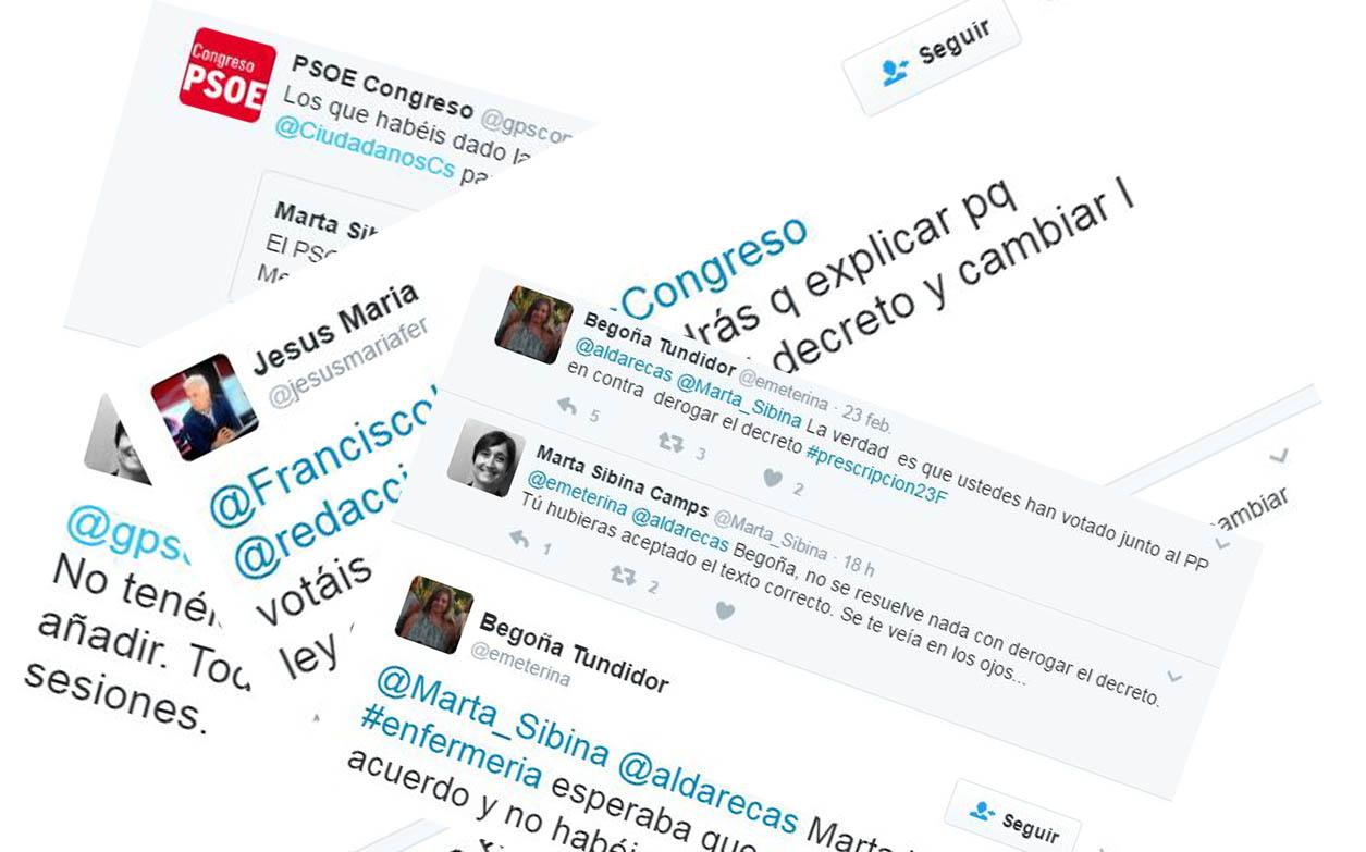 PSOE, Podemos y Ciudadanos se enzarzan con la prescripción en Twitter