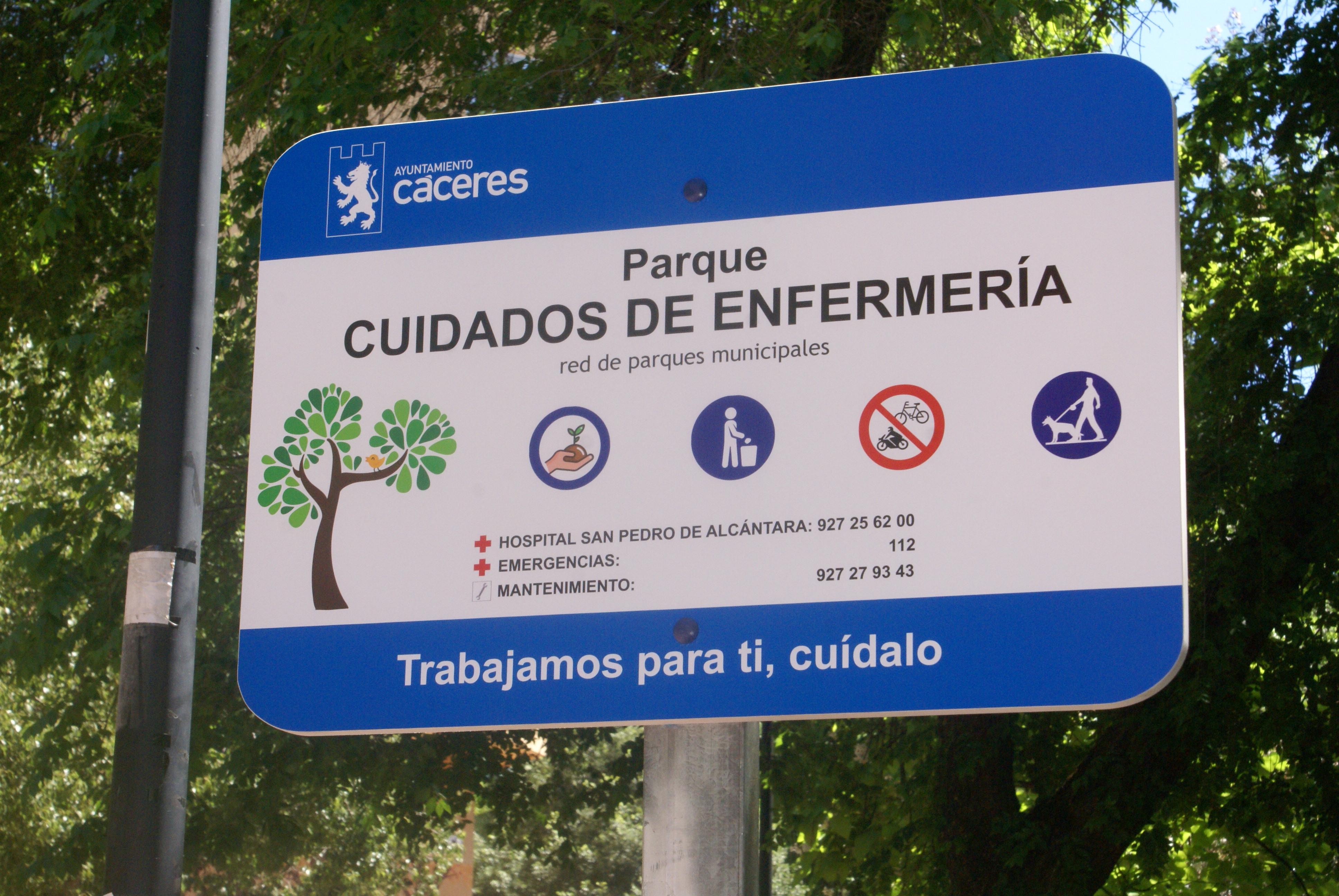 """Cáceres denomina """"Cuidados de enfermería"""" a uno de sus parques"""