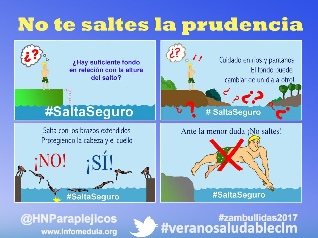 """""""Salta seguro"""", nuevo eslogan del Hospital de Parapléjicos para prevenir las tetraplejias por una mala zambullida"""