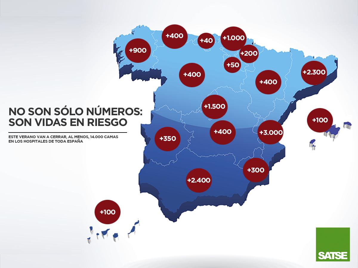 Satse denuncia el cierre de 14.000 camas en verano en España