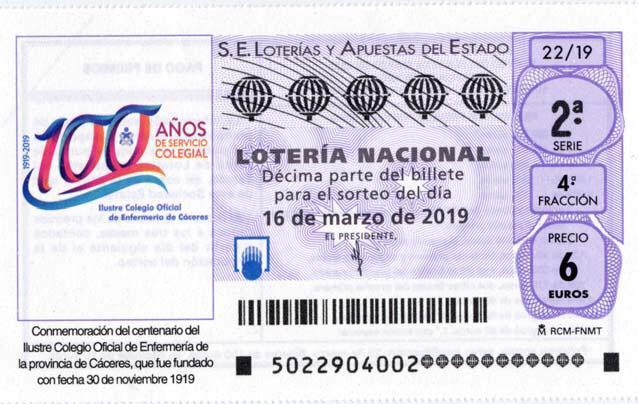 La Lotería Nacional homenajea el centenario del Colegio de Enfermería de Cáceres