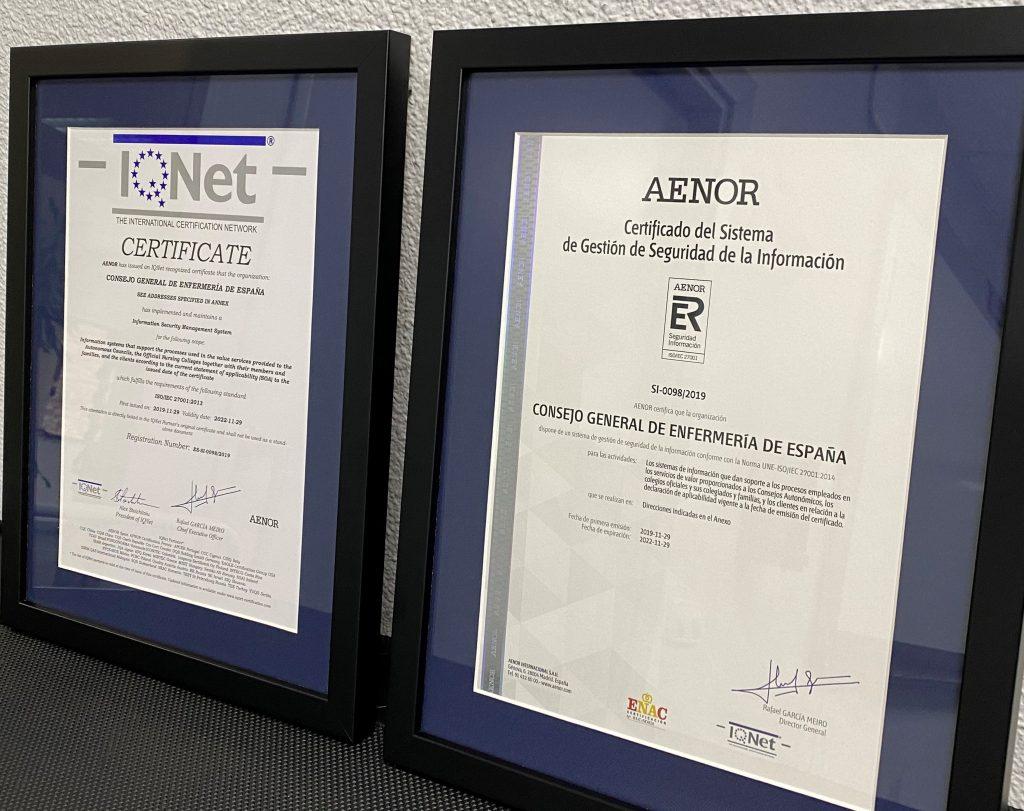 El Consejo General de Enfermería consigue el certificado AENOR de seguridad de la información