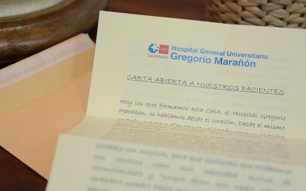 Profesionales del Gregorio Marañón dedican una emotiva carta abierta a sus pacientes tras la crisis sanitaria