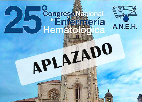 Aplazado el 25º Congreso Nacional de Enfermería Hematológica