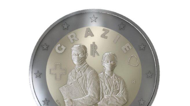 Italia lanza una moneda de dos euros en homenaje a los sanitarios que luchan contra la pandemia