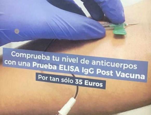 El CGE denuncia ante los ministerios de Sanidad y Consumo el cartel que cuestiona el trabajo de las enfermeras en la vacunación para vender test de anticuerpos