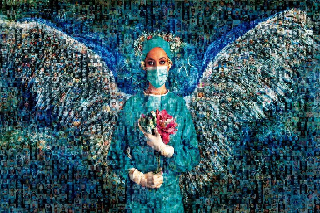 Un fotomosaico, protagonizado por una enfermera, como reconocimiento a los profesionales del Área Sanitaria Sur de Sevilla durante la pandemia